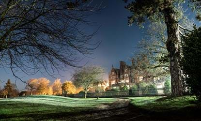 dunston hall at night view from golf course